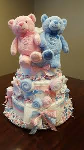 halloween themed diaper cakes it u0027s twins twin diaper cake baby shower gift pink and blue