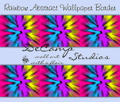 Wallpaper Borders For Girls Bedroom Rainbow Tie Dye Wallpaper Border Wall Decals Abstract Teen