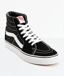 vans sk8 hi black white skate shoes zumiez