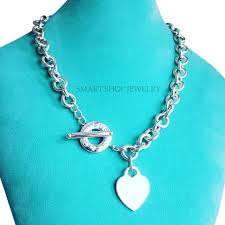 heart pendant necklace tiffany images Tiffany co 18 inches sterling silver heart charm toggle jpg