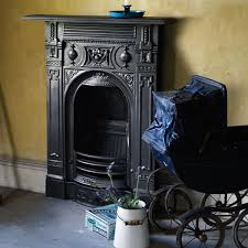 small victorian cast iron combination fireplace in black finish