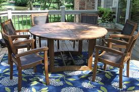 dining room table with lazy susan round eucalyptus wood 63
