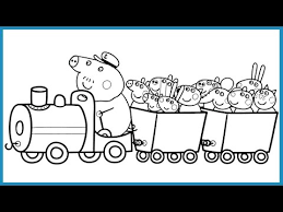 peppa pig friends train coloring book pages kids fun