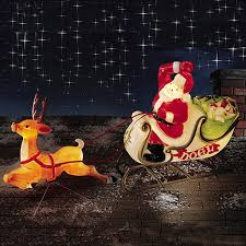 Christmas Outdoor Decorations Sleigh christmas lighted decoration santa sleigh reindeer blow molded