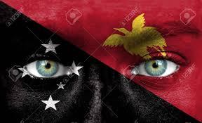 New Guinea Flag Human Face Painted With Flag Of Papua New Guinea Stock Photo