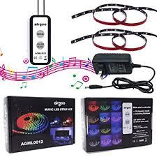 music led strip lights amazon com music rainbow led strip light rainbow color music