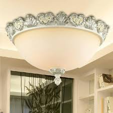 Bedroom Ceiling Lighting Fixtures White Color Glass Shade Ceiling Lights Flush For Bedroom
