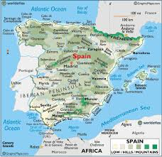 map of spain spain large color map