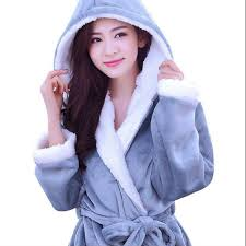 robe de chambre femme polaire avec capuche automne hiver polaire doux peignoir avec capuche robes chemise