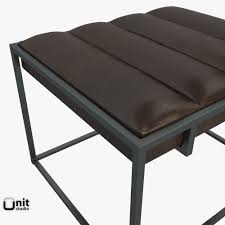 fontanne leather ottoman by west elm 3d model cgtrader