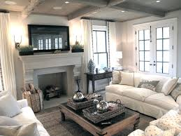 Living Rooms Rustic Wood Coffered Ceiling French Doors TV Stone - Slipcovers for living room chairs