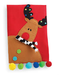 hearts and kitchen collection mud pie reindeer linen tea towel from the santa and co collection
