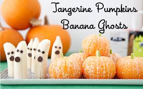 420 best halloween recipes images on pinterest halloween recipe tangerine pumpkins banana ghosts fruity halloween weelicious