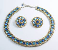 clip on earrings s hattie carnegie blue rhinestone gold mesh necklace clip earrings set