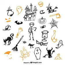 sketch of halloween icons vector free download