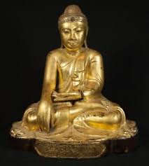 19th century antique wooden buddha statue from burma antique