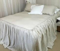natural linen bedspread with ruffle fall handcrafted by superior