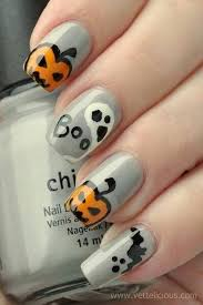 40 cute and spooky halloween nail art designs gray nails fun