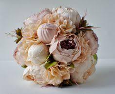 Shabby Chic Bridal Bouquet by Peony Bridal Bouquet Silk Wedding Flowers Champagne Wedding