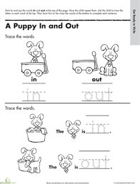 learning to write in and out worksheet education com