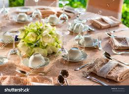 dining table preparation luxury restaurant western stock photo