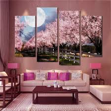 cherry blossom home decor aliexpress com buy 4pcs unframed modern wall painting home