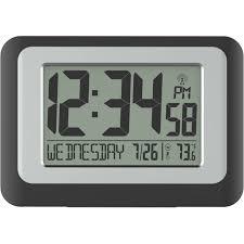 wall mounted digital alarm clock digital atomic calendar clock with indoor temperature walmart com