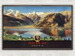 travel posters images Vintage poster of austria zell am see travel poster old maps jpg