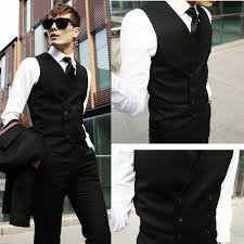 male vest slim suit fashion commercial double breasted business