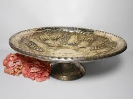 metal platters vintage platter silver serving tray pedestal footed platter