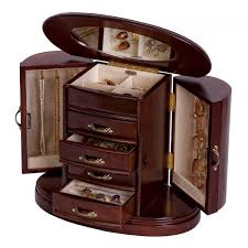 wood necklace designs images Wooden jewelry box walnut finish rounded design interior mirror jpg