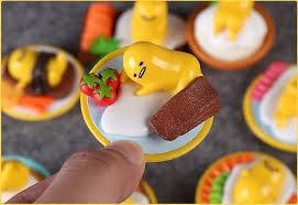 8pcs anime lovely sanrio gudetama lazy egg mini plastic ornaments