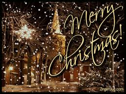 merry church with falling snow glitter graphic greeting
