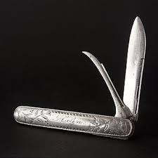 Monogrammed Pocket Knife Antique Sterling Silver Folding Fruit Pocket Knife Item 1221131