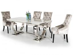 suede dining room chairs vida living arianna marble and chrome dining table with eden suede