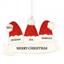 santa hat family of 3 personalized ornament