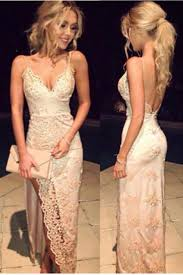 backless prom dress lace prom dress cute white lace long evening