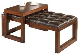 tiburon faux leather ottoman with sliding table transitional