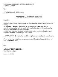 Examples Of Business Proposal Letters by Canteen Proposal Cafeteria Kitchen