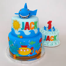 shark attack cake with matching smash cake decorated cakes by