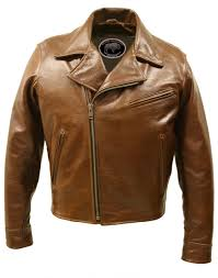 motorcycle style jacket half belt classic biker bison jacket brown