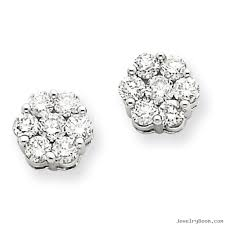 back diamond earrings 14k white gold diamond cluster screwback earrings diamond earrings
