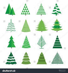set images christmas tree isolated silhouette stock vector