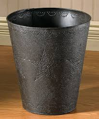country bath accessories star punched tin waste basket