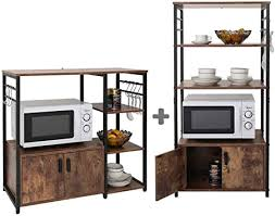 kitchen pantry storage cabinet microwave oven stand with storage iwell kitchen baker s rack with 1 cabinet and 8