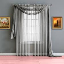 warm home designs silver window scarf valances sheer silver