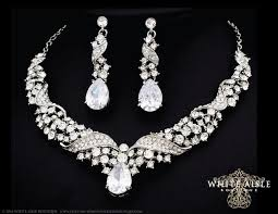 earring necklace sets wedding images Bridal jewelry set crystal statement necklace earrings vintage jpg