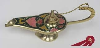 7 brass incense burner ornate aladdin genie lamp