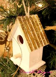 glittery birdhouse ornament hometalk