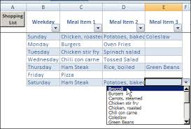 Meal Plan Excel Template Excel Weekly Meal Planner With Recipe Selector Contextures